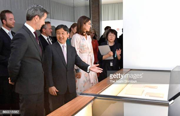 Crown Prince Frederik and Crown Princess Mary of Denmark visit the National Archives of Japan with Japanese Crown Prince Naruhito on October 10 2017...