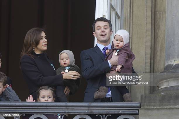 ** ** Crown Prince Frederik And Crown Princess Mary Of Denmark With Prince Vincent And Princess Josephine And Princess Isabelle Attend A Balcony...