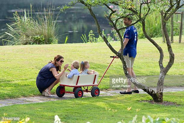 Crown Prince Frederik and Crown Princess Mary of Denmark with Prince Vincent and Princess Josephine attend the annual Summer photocall for the Royal...