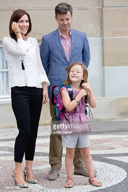 Crown Prince Frederik and Crown Princess Mary of Denmark with their daughter Princess Isabella depart Amalienborg Palace for Princess Isabella's...