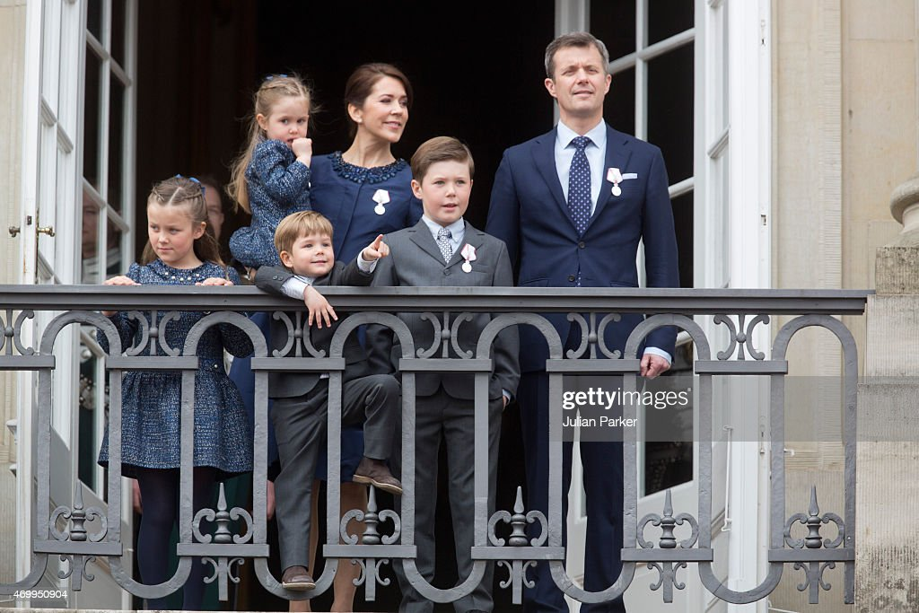 Crown Prince Frederik, and Crown Princess Mary of Denmark, with their children, Princess Josephine, Princess Isabella, Prince Vincent and Prince Christian appear on the Balcony of Amalienborg Palace on The 75th Birthday of Queen Margrethe II of Denmark, on April 16, 2015 in Copenhagen, Denmark.