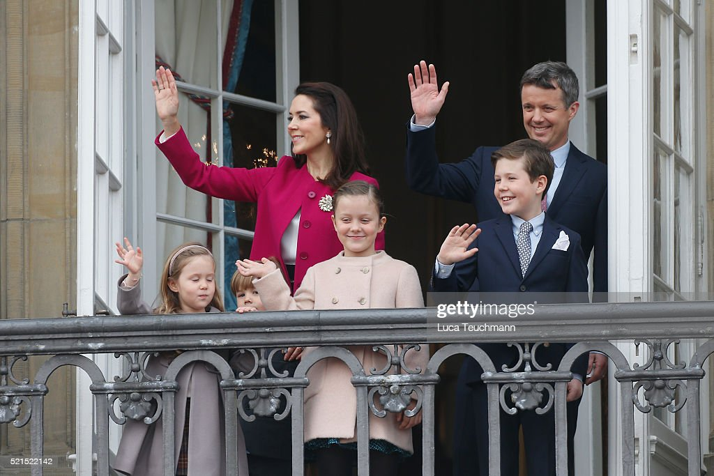 Crown Prince Frederik, and Crown Princess Mary of Denmark, with their children, Princess Josephine, Princess Isabella, Prince Vincent and Prince Christian attend the celebrations of her Majesty's 76th birthday at Amalienborg Royal Palace on April 16, 2016 in Copenhagen, Denmark.