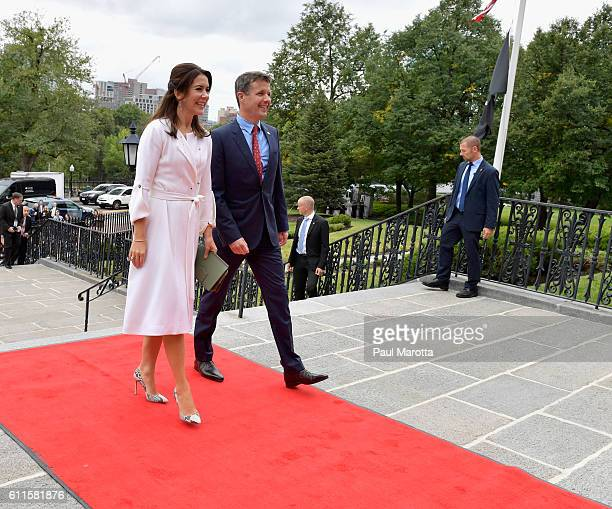 Crown Prince Frederik and HRH Princess Mary of Denmark are met by Massachusetts Governor Charlie Baker and Mrs Baker and Lt Governor Karen Polito as...