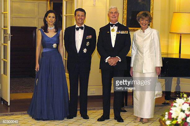 Crown Prince Frederik and Princess Mary of Denmark pose for official photographs with Governor General Michael Jeffery and Mrs Marlena Jeffery at...