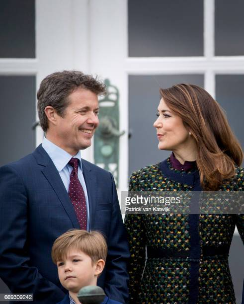 Crown Prince Frederik Crown Princess Mary and Prince Vincent of Denmark attend the 77th birthday celebrations of Danish Queen Margrethe at...