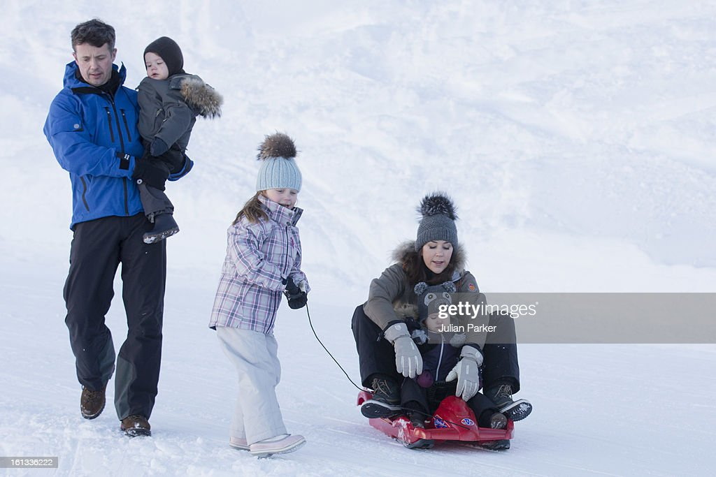 Crown Prince Frederik, Crown Princess Mary of Denmark and Princess Josephine, and Princess Isabella and Prince Vincent, pose for photographs on their annual skiing holiday on February 10, 2013 in Verbier, Switzerland.