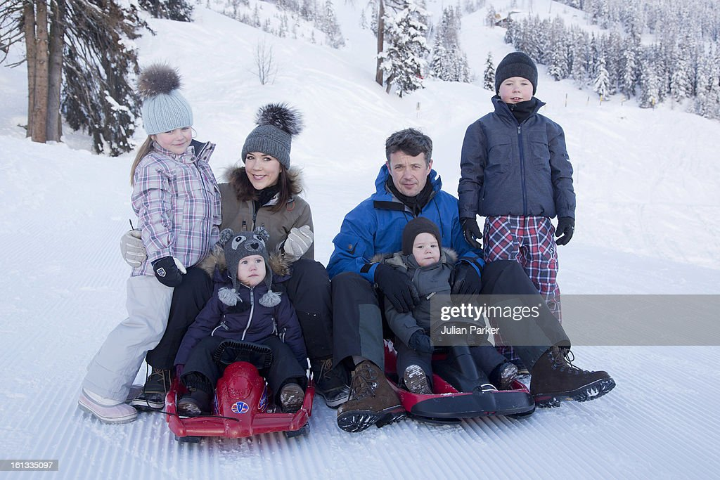 Crown Prince Frederik, Crown Princess Mary of Denmark and their children, Princess Josephine, Princess Isabella, Prince Christian and Prince Vincent pose for photographs on their annual skiing holiday on February 10, 2013 in Verbier, Switzerland.