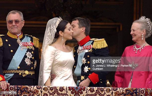 Crown Prince Frederik Crown Princess Mary Of Denmark Appear On The Balcony Of Amalienborg Palace With Queen Margrethe Ii Prince Henrik After Their...