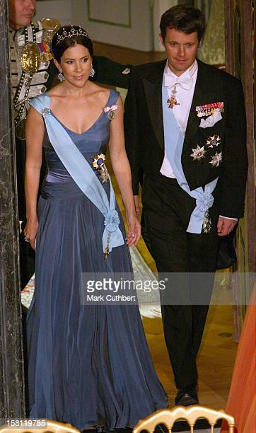 Crown Prince Frederik Crown Princess Mary Of Denmark Attend A State Banquet At Fredensborg Palace For The President Of Brazil During The Brazil State...