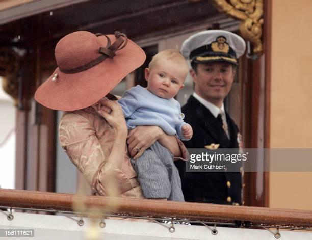 Crown Prince Frederik Crown Princess Mary Of Denmark Visit The Island Of BornholmArrival At Ronne On Royal Yacht Dannebrog