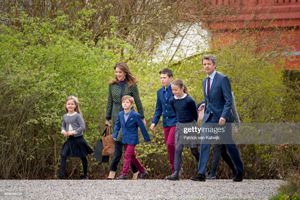 Crown Prince Frederik, Crown Princess Mary, Prince Christian, Princess Isabella, Prince Vincent and Princess Josephine attend the 77th birthday celebrations of Danish Queen Margrethe at Marselisborg Palace on April 16, 2017 in Aarhus, Denmark.