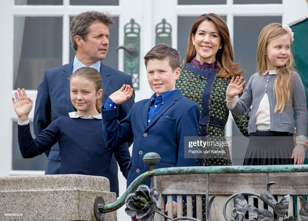 Crown Prince Frederik, Crown Princess Mary, Prince Christian, Princess Isabella and Princess Josephine attend the 77th birthday celebrations of Danish Queen Margrethe at Marselisborg Palace on April 16, 2017 in Aarhus, Denmark.