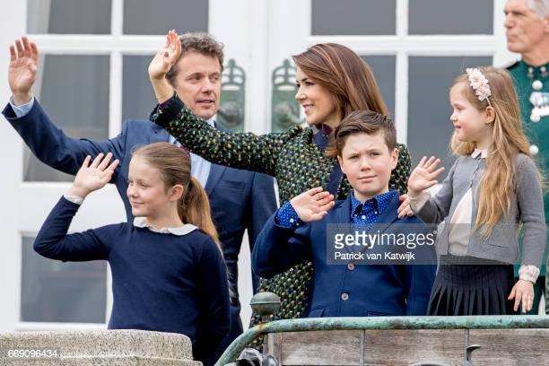 Crown Prince Frederik Crown Princess Mary Prince Christian Princess Isabella and Princess Josephine of Denmark attend the 77th birthday celebrations...