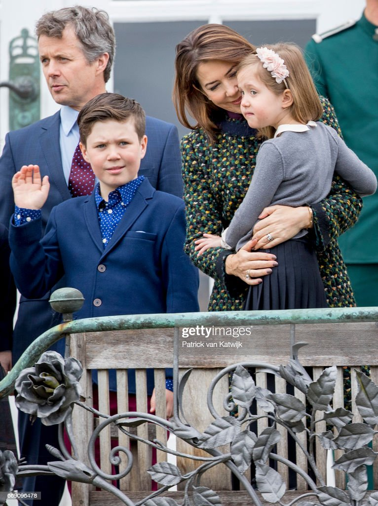 Crown Prince Frederik, Crown Princess Mary, Prince Christian Princess Josephine of Denmark attend the 77th birthday celebrations of Danish Queen Margrethe at Marselisborg Palace on April 16, 2017 in Aarhus, Denmark.