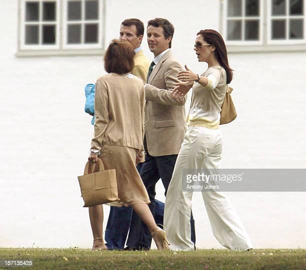 Crown Prince Frederik Crown Princess Mary Prince Joachim Princess Alexandra Of Denmark Attend A Bruch At Fredensborg Palace On Prince Henrik'S 70Th...