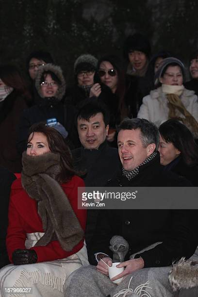 Crown Prince Frederik of Denmark and Crown Princess Mary of Denmark take part in a Danish fashion company's activity at the Royal Danish Embassy on...