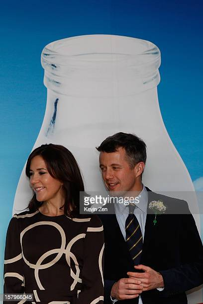 Crown Prince Frederik of Denmark and Crown Princess Mary of Denmark take part in a Danish company's activity in Royal Danish Embassy on December 8...