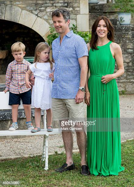 Crown Prince Frederik of Denmark and Crown Princess Mary of Denmark with Prince Vincent of Denmark and Princess Josephine of Denmark attending a...