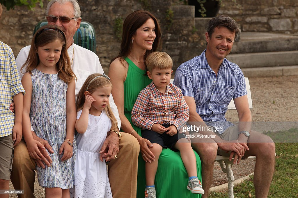 Crown <a gi-track='captionPersonalityLinkClicked' href=/galleries/search?phrase=Prince+Frederik+of+Denmark&family=editorial&specificpeople=171286 ng-click='$event.stopPropagation()'>Prince Frederik of Denmark</a> and <a gi-track='captionPersonalityLinkClicked' href=/galleries/search?phrase=Crown+Princess+Mary+of+Denmark&family=editorial&specificpeople=158374 ng-click='$event.stopPropagation()'>Crown Princess Mary of Denmark</a> with <a gi-track='captionPersonalityLinkClicked' href=/galleries/search?phrase=Prince+Vincent+of+Denmark&family=editorial&specificpeople=8900376 ng-click='$event.stopPropagation()'>Prince Vincent of Denmark</a> and Princess Josephine attend a photocall at Chateau de Cayx on June 11, 2014 in Luzech, France.