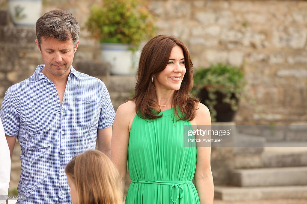Crown <a gi-track='captionPersonalityLinkClicked' href=/galleries/search?phrase=Prince+Frederik+of+Denmark&family=editorial&specificpeople=171286 ng-click='$event.stopPropagation()'>Prince Frederik of Denmark</a> and <a gi-track='captionPersonalityLinkClicked' href=/galleries/search?phrase=Crown+Princess+Mary+of+Denmark&family=editorial&specificpeople=158374 ng-click='$event.stopPropagation()'>Crown Princess Mary of Denmark</a> attend a photocall at Chateau de Cayx on June 11, 2014 in Luzech, France.