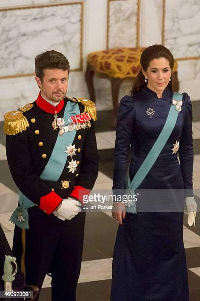 Crown Prince Frederik of Denmark and Crown Princess Mary of Denmark attend a New Year's Levee held by Queen Margrethe of Denmark for Diplomats at...