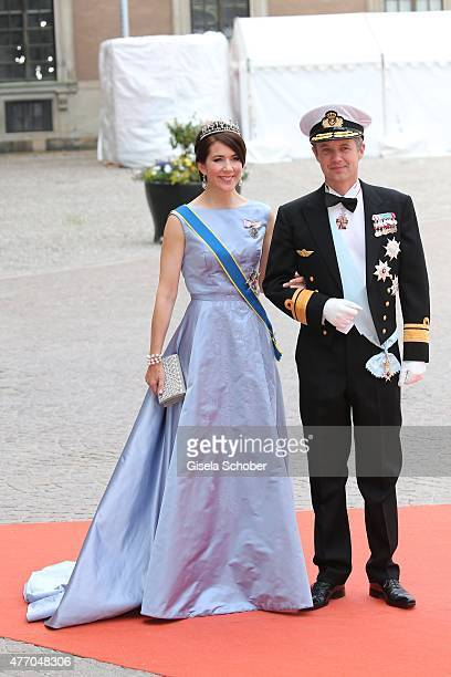 Crown Prince Frederik of Denmark and Crown Princess Mary Of Denmark attend the royal wedding of Prince Carl Philip of Sweden and Sofia Hellqvist at...