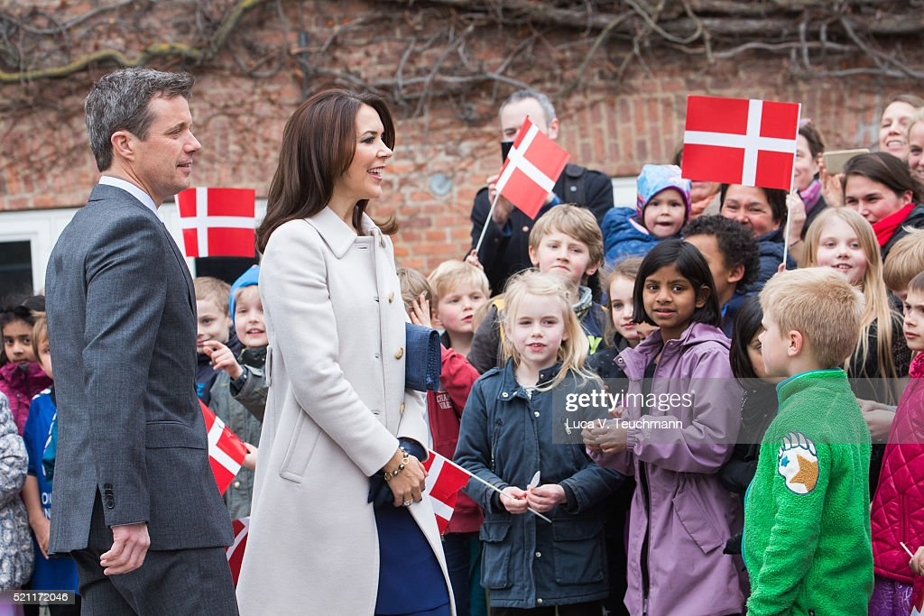 Crown Prince Frederik of Denmark and Crown Princess Mary of Denmark visit Tjornegaard School during the State visit of the President of The United Mexican States, President Enrique Pena Nieto, and his wife Angelica Rivera to Denmark on April 14, 2016 in Gentofte, Denmark.