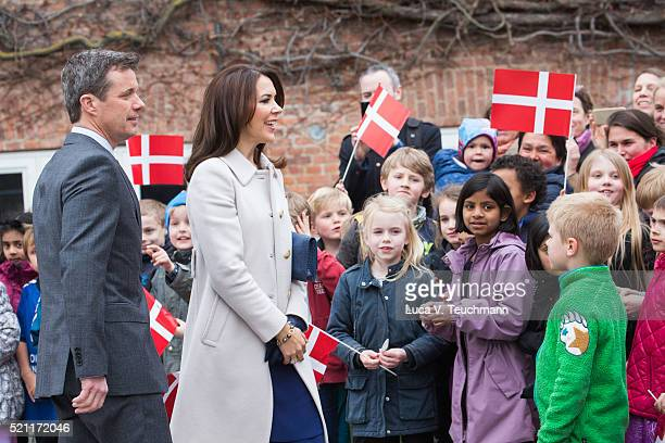 Crown Prince Frederik of Denmark and Crown Princess Mary of Denmark visit Tjornegaard School during the State visit of the President of The United...
