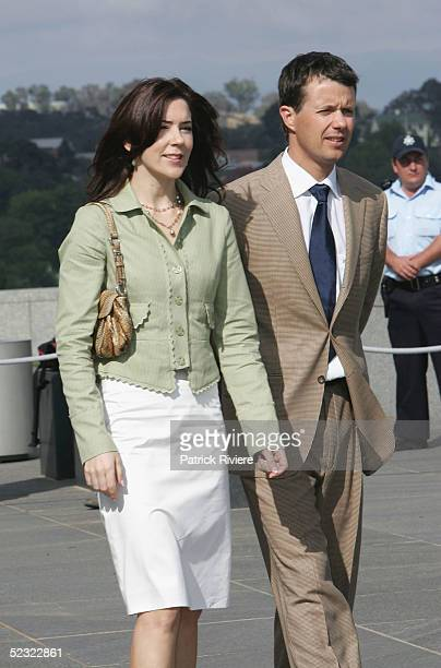 Crown Prince Frederik of Denmark and Crown Princess Mary of Denmark arrive on the rooftop of the Parliament House during their visit to the...
