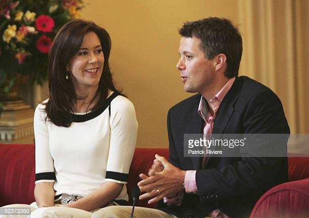 Crown Prince Frederik of Denmark and Crown Princess Mary of Denmark answer questions at a press conference at the Hobart Government House March 11...