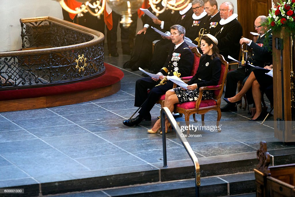 Crown Prince Frederik of Denmark and Crown Princess Mary of Denmark attend the Flag Day ceremony for international deployed military personnel, veterans and those lost in action in Holmens Kirke (read: Church of Holmen) next to the Parliament on September 05, 2016 in Copenhagen, Denmark.