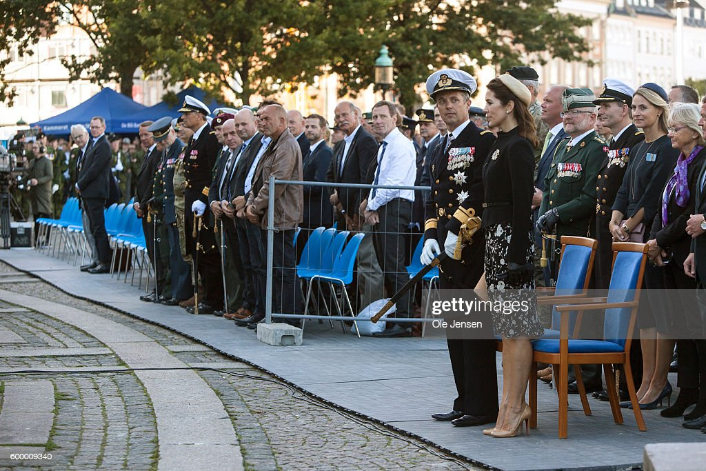 Crown Prince Frederik of Denmark and Crown Princess Mary of Denmark attend the Flag Day parade for international deployed military personel, veterans and those lost in action at The Parliament Square (Danish, read: Christiansborg Slotsplads) in Copenhagen, Denmark on Septemnber 05, 2016.