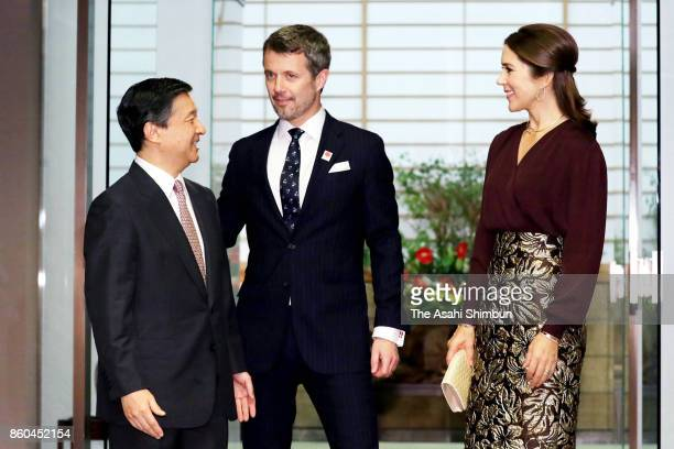 Crown Prince Frederik of Denmark and Crown Princess Mary of Denmark are welcomed by Crown Prince Naruhito of Japan prior to their dinner at Togu...