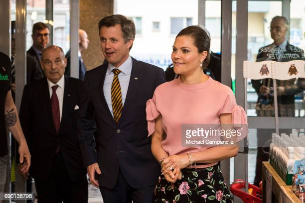 Crown Prince Frederik of Denmark and Crown Princess Victoria of Sweden are seen visting Paradiset an organic grocery store on May 30 2017 in...