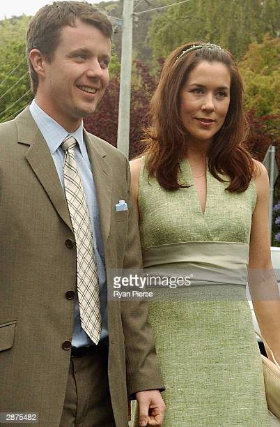 Crown Prince Frederik of Denmark and his Tasmanianborn fiancee Mary Donaldson arrive for Miss Donaldson's sister Patricia's wedding January 17 2004...