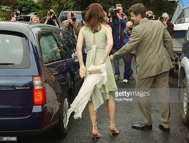 Crown Prince Frederik of Denmark and his Tasmanianborn fiancee Mary Donaldson arrive to the media gathering at Miss Donaldson's sister Patricia's...