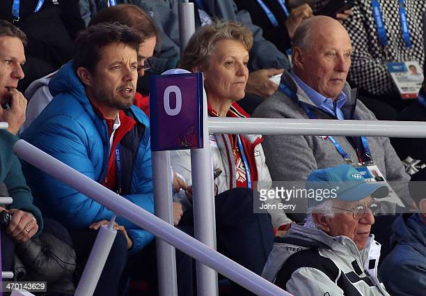 Crown Prince Frederik of Denmark and King Harald V of Norway attend the Men's Ice Hockey Qualification Playoff game between Norway and Russia on day...