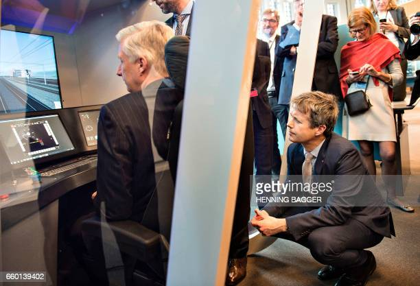 Crown Prince Frederik of Denmark and King Philippe of Belgium are trying a trainsimulator during their visit to BaneDanmark in Copenhagen on March 29...