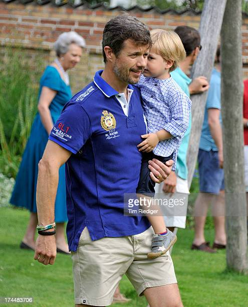 Crown Prince Frederik of Denmark and Prince Vincent attend the annual Summer photocall for the Royal Danish family at Grasten Castle on July 26 2013...