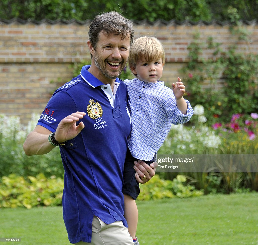Crown Prince Frederik of Denmark (L) and Prince Vincent attend the annual Summer photocall for the Royal Danish family at Grasten Castle on July 26, 2013 in Grasten, Denmark.