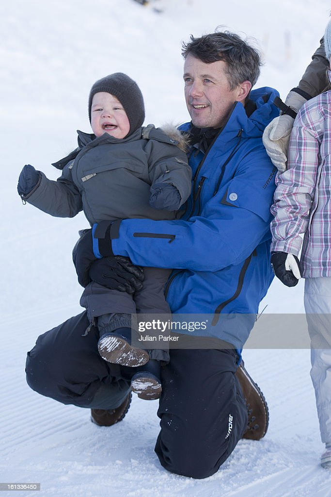 Crown Prince Frederik of Denmark and Prince Vincent of Denmark pose for photographs on their annual skiing holiday on February 10, 2013 in Verbier, Switzerland.