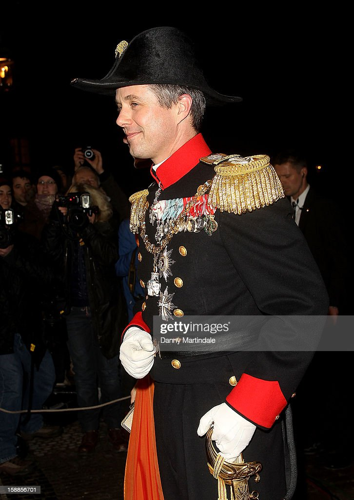 Crown <a gi-track='captionPersonalityLinkClicked' href=/galleries/search?phrase=Prince+Frederik+of+Denmark&family=editorial&specificpeople=171286 ng-click='$event.stopPropagation()'>Prince Frederik of Denmark</a> arrives at a New Year's Banquet hosted by Queen Margrethe of Denmark at Christian VII's Palace on January 1, 2013 in Copenhagen, Denmark.