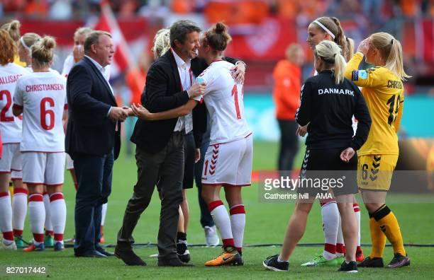 Crown Prince Frederik of Denmark consoles Katrine Veje of Denmark Women after the UEFA Women's Euro 2017 final match between Denmark and Netherlands...