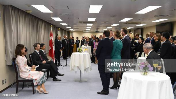 Crown Prince Frederik of Denmark Crown Princess Mary of Denmark and Japanese Crown Prince Naruhito attend a reception at the National Archives of...