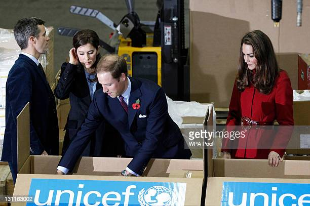 Crown Prince Frederik of Denmark Crown Princess Mary of Denmark Prince William Duke of Cambridge and Catherine Duchess of Cambridge during a visit to...