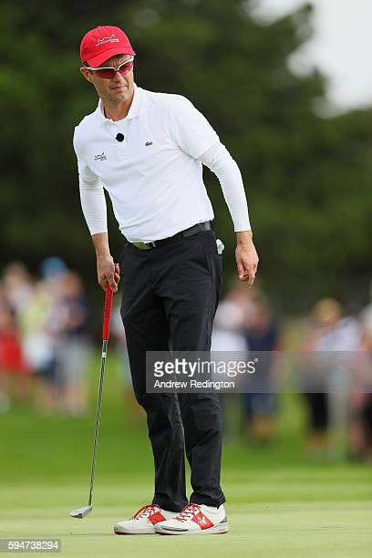 Crown Prince Frederik of Denmark in action on the first hole during the Pro Am prior to the start of Made In Denmark at Himmerland Golf Spa Resort on...