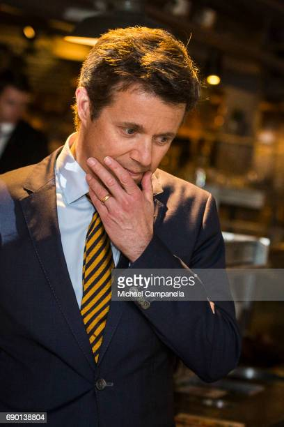 Crown Prince Frederik of Denmark is seen visting Paradiset an organic grocery store on May 30 2017 in Stockholm Sweden
