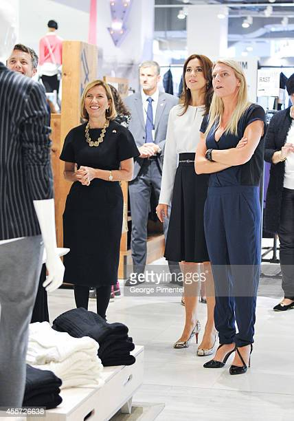 Crown Prince Frederik of Denmark Liz Rodbell President of Hudson's Bay and Crown Princess Mary of Denmark attend official visit to Canada Day 3 at...