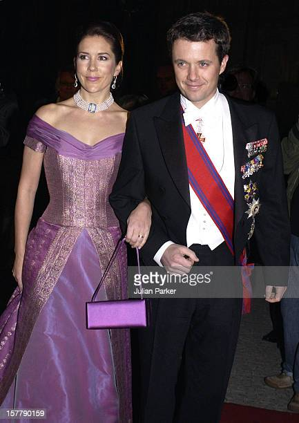 Crown Prince Frederik Of Denmark Mary Donaldson Attend A State Banquet At Amalienborg Palace During The State Visit Of HE Mr Ion Iliescu The...