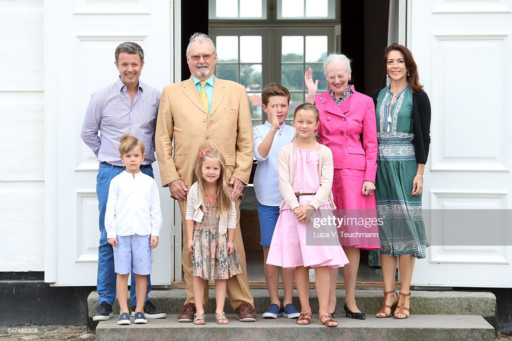 Crown Prince Frederik of Denmark, Prince Vincent of Denmark, Prince Henrik of Denmark, Princess Josephine of Denmark, Prince Christian of Denmark, Princess Isabella of Denmark, Queen Margrethe II of Denmark and Crown Princess Mary of Denmark pose for photographers at the annual summer photo call for The Danish Royal Family at Grasten Castle on July 15, 2016 in Grasten, Denmark.